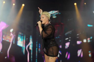 Rio de Janeiro, Brazil, October 6, 2019.P!nk singer during her show at Rock in Rio 2019 in the city of Rio de Janeiro.