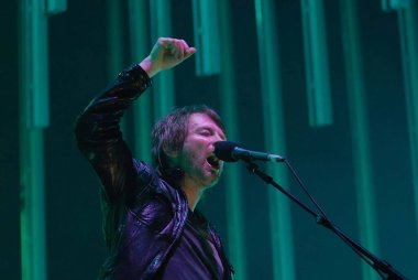 Rio de Janeiro, Brazil, March 20, 2009.Vocalist Thom Yorke of the band Radiohead during show at the Apoteose Square in the city of Rio de Janeiro