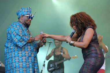 Rio de Janeiro, Brazil, September 29, 2011.Singer Africa Bambaataa and singer Paula Lima, during the Sunset stage show at Rock in Rio in the city of Rio de Janeiro.