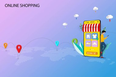 Concept of online shopping, young man standing and hold a smart phone that the display contain app icon of products list to order a new shirt. Vector 3D design. icon