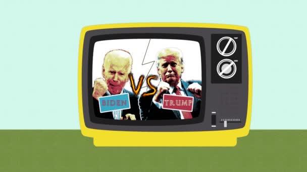 Rajz lapos design egy régi retro TV végső párbaj az amerikai választások, amerikai elnökválasztás 2020, Joe Biden ellen Donald Trump, republikánusok VS demokraták. Trump kontra Biden.