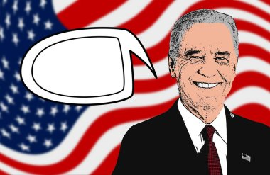 Joe Biden talking, with a blank comic book bubble for writing inside. Illustration to make Biden speak, write his words, sentences, proposals. Free space to add text. American flag. US election.