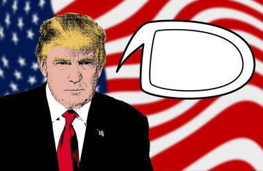 Donald Trump talking, with a blank comic book bubble for writing inside. Illustration to make Trump speak, write his words, sentences, proposals. Free space to add text. American flag. US election.
