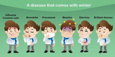 There are 6 diseases that come with winter. Influenza, pneumonia, bronchitis, rubella, diarrhea, brilliant disease, icon