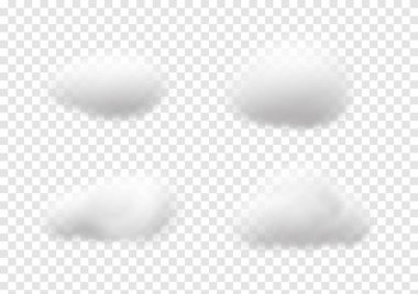 Realistic white cloud vectors isolated on transparency background, cotton wool ep47 icon