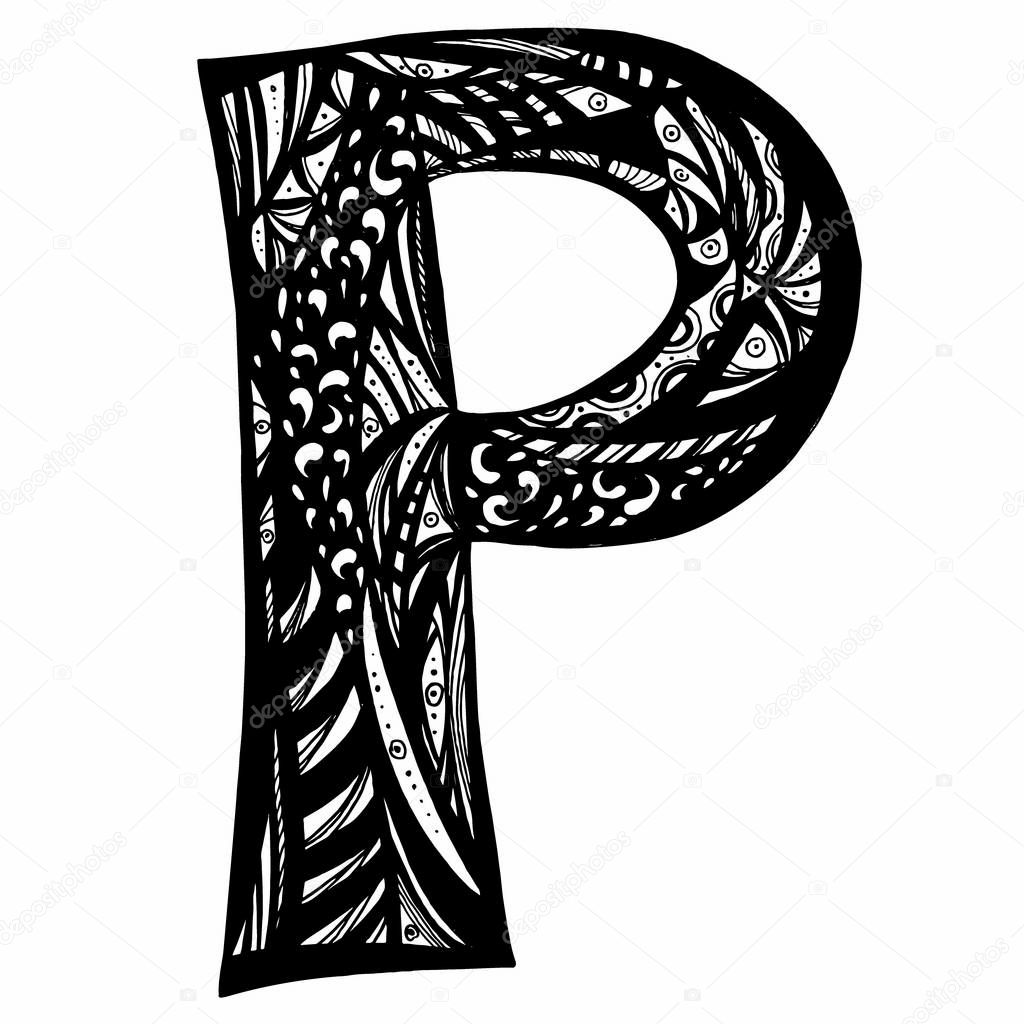 Letter P zentangle for coloring. Vector decorative object