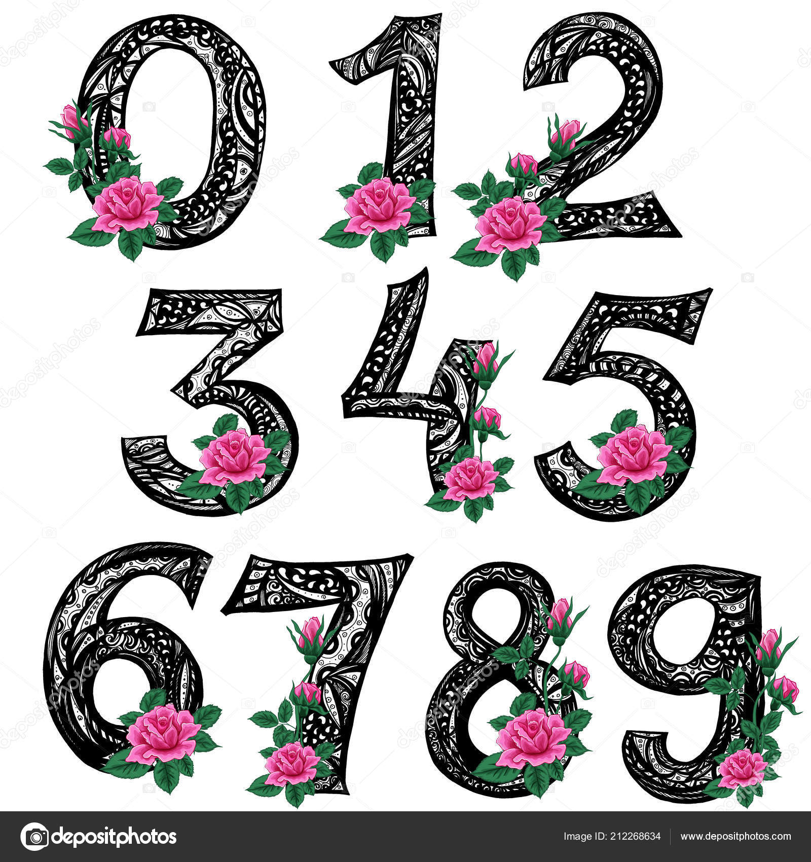 Zentangle Line Art Striped Numbers From Zero To Nine With Pink Rose