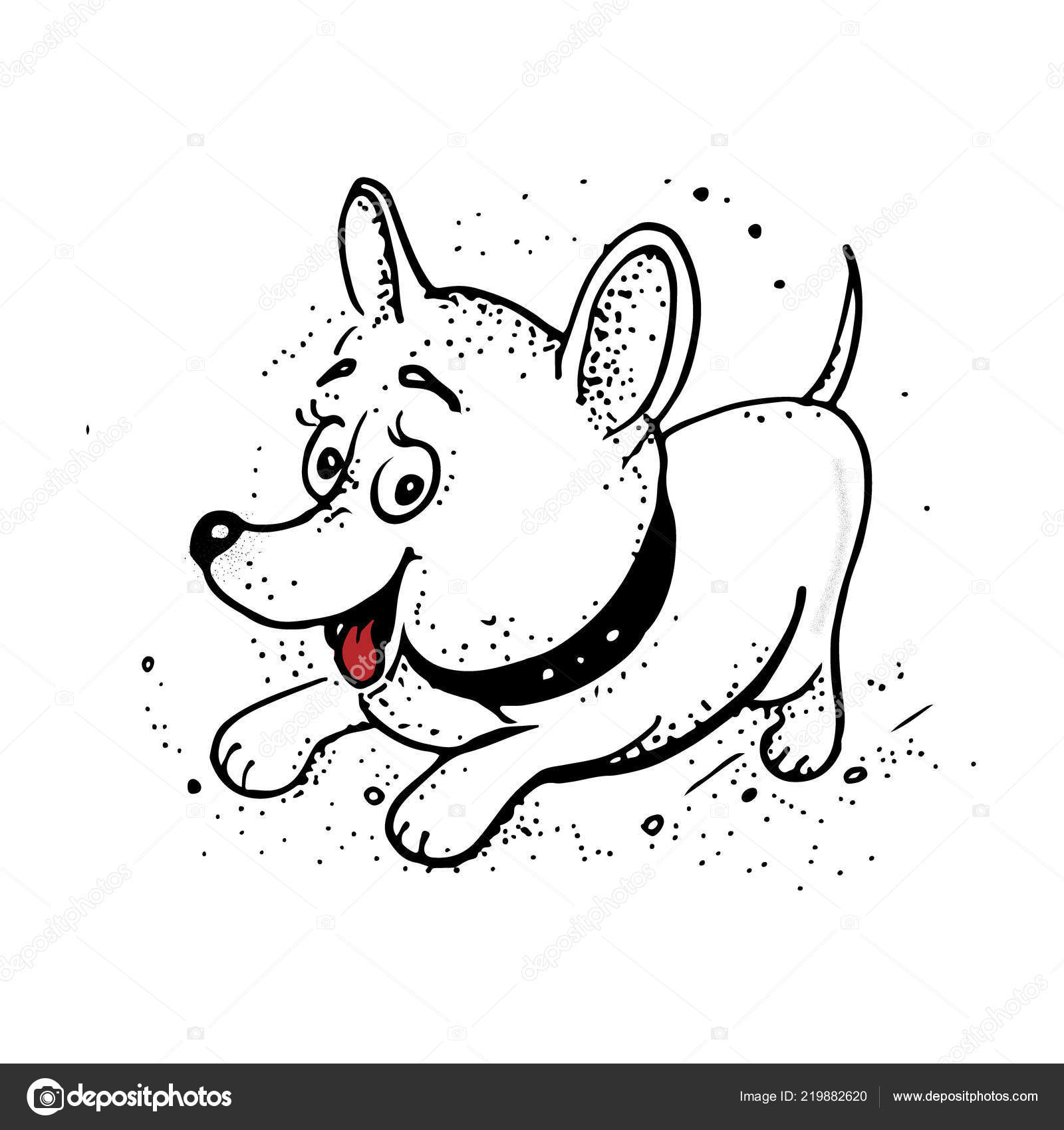 Legracni Karikatura Psa Rucni Kresba Izolovane Objekty Na Bilem