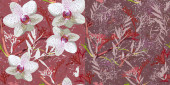 Floral seamless pattern with orchids. Set of two vectors with randomly arranged flowers and leaves on a pink and burgundy background. For textiles, wallpapers, clothes, decorative surfaces