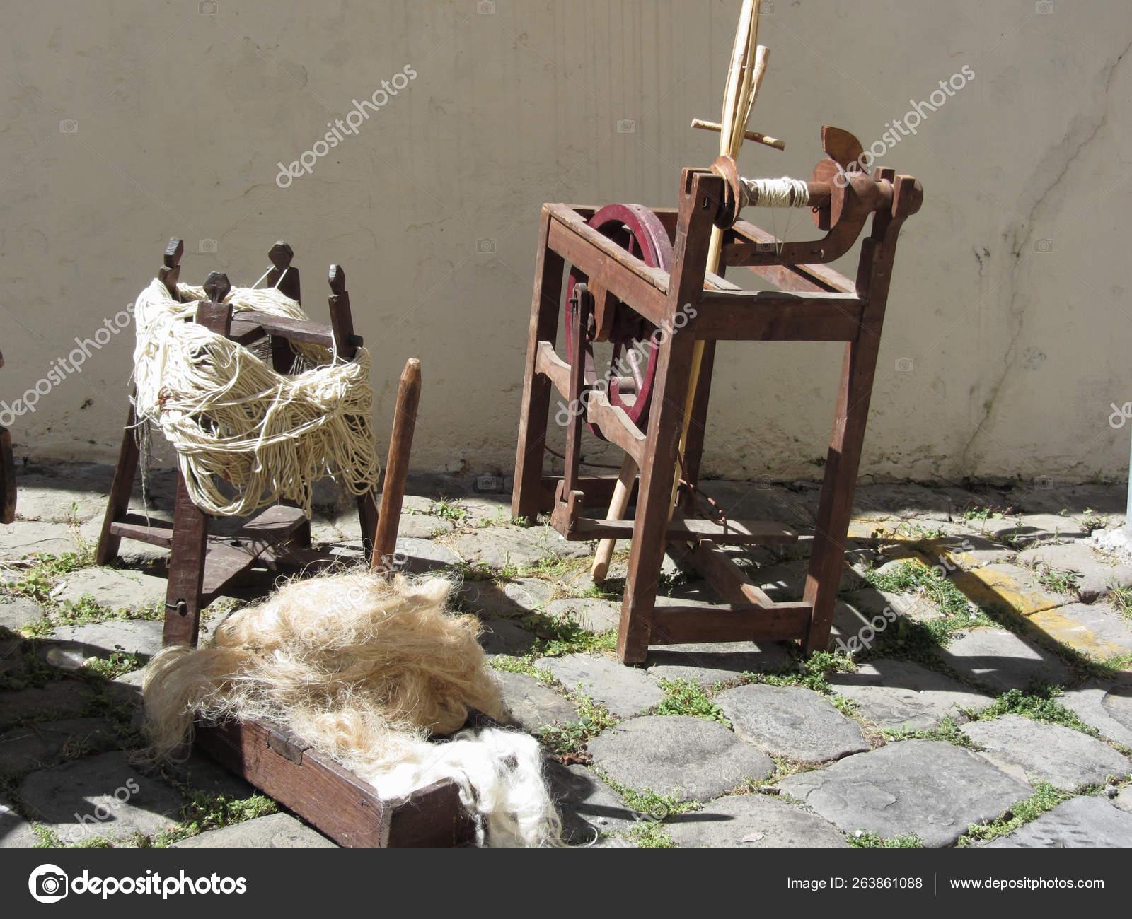 Old Spinning Wheel Raw Wool Yarn And Wool To Card Stock Photo C Lukeluke 263861088