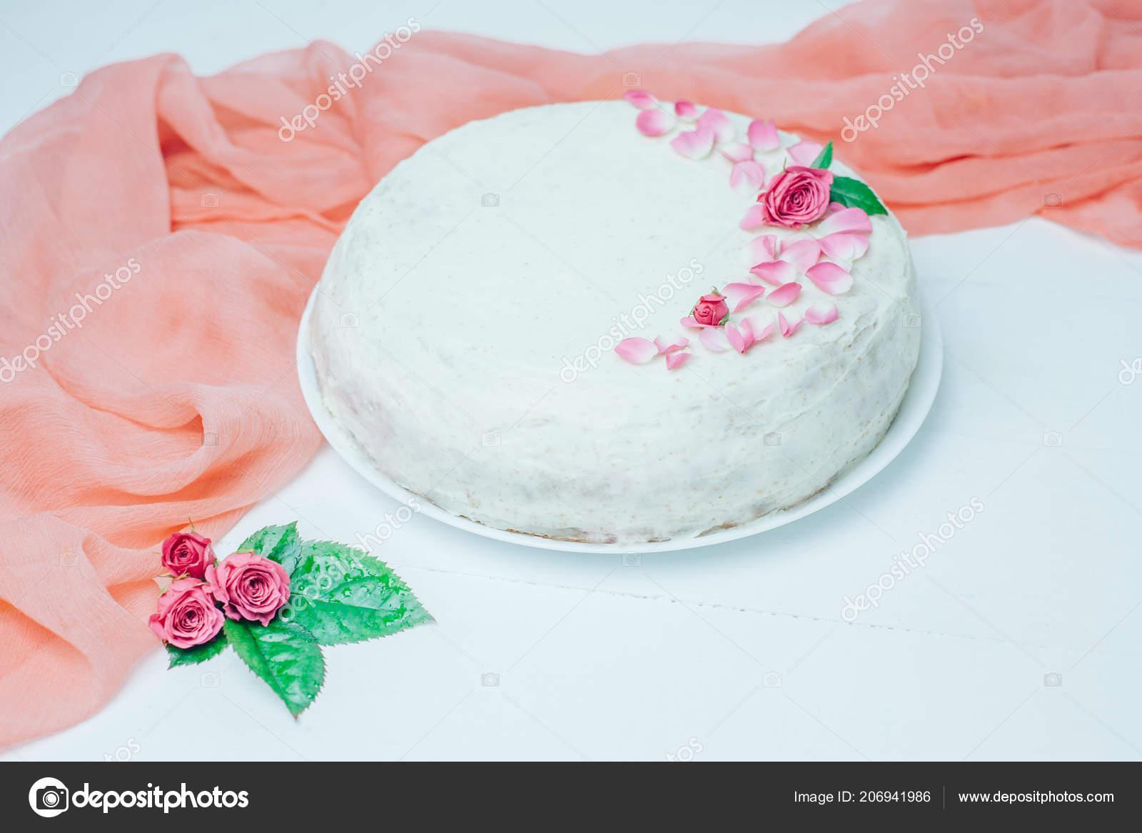 Vanilla Cake Decoration Flowers Sweet Birthday Present Girl Handmade