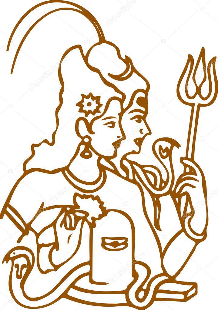 Lord Shiva And Parvati Hindu Wedding Card Design Element