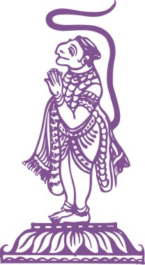 Drawing or Sketch of Lord Hanuman Standing and doing Namaste Outline Editable Vector Illustration stock vector