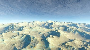 beautiful view from an exoplanet, a view from an alien planet, a computer-generated surface, a fantastic view of an unknown world, a fantasy world 3D render