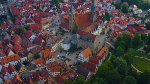 Aerial view from the old part of the city Oehringen in Germany.  On an early morning in springtime