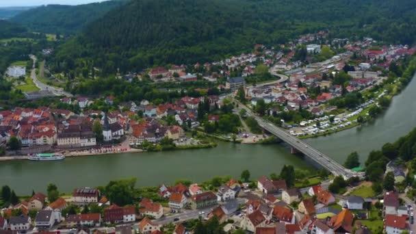 Aerial view of Neckargemuend beside the Neckar river in Germany.