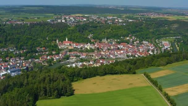 Aerial of the city Horb am Neckar a Fekete-erdőben Németországban.