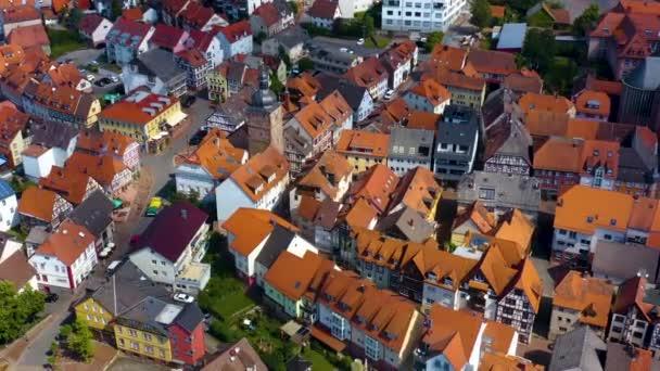 Légi felvétel a falu Buchen Németországban. Egy kora tavaszi napsütéses reggelen.