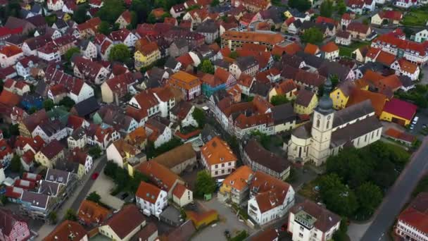 Aerial view from the old part of the city Lauda-Koenigshofen in Germany.