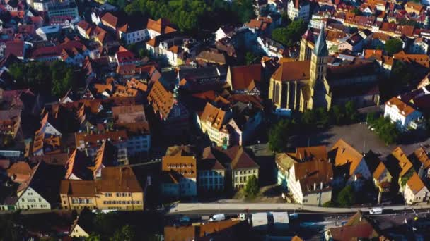 Aerial of the old part of town in Esslingen in Germany. On an early sunny morning in spring