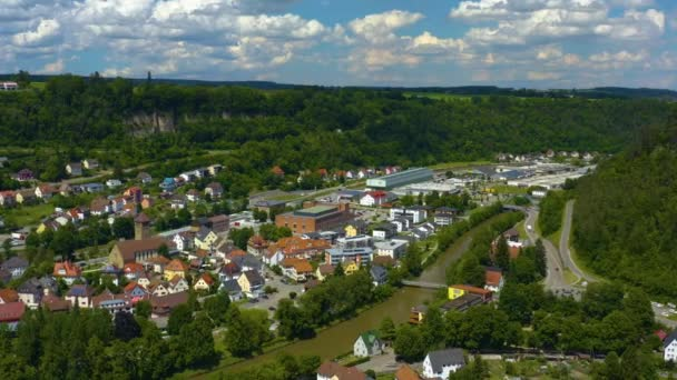Aerial view of the city Sulz am Neckar in Germany.