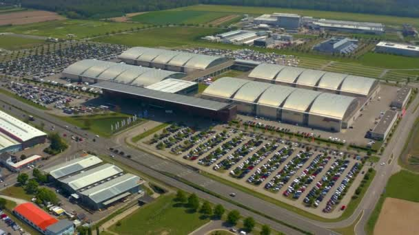 Aerial view of the Congress center in Karlsruhe in Germany on a sunny day