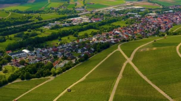 Aerial view around the city Binswangen in Germany