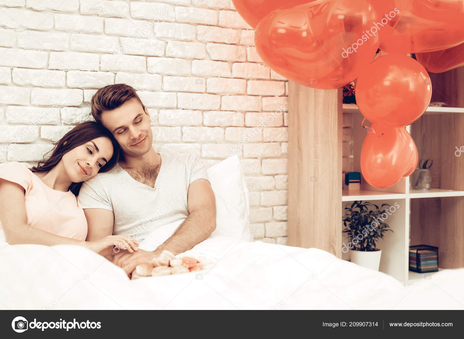 Happy Couple Lying Bed Valentine Day Love Each Other Sweetheart Stock Photo C Vadimphoto1 Gmail Com 209907314