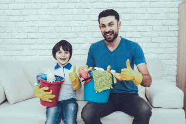 Cleanliness. Family. Clean House Together. Holidays. Two Boys. Father. Baby with Bright Hair. Smiling Kids. Spends Time. Happy Together. Leisure Time. Man. Smile. Home Time. Father Two Boys. Have Fun.