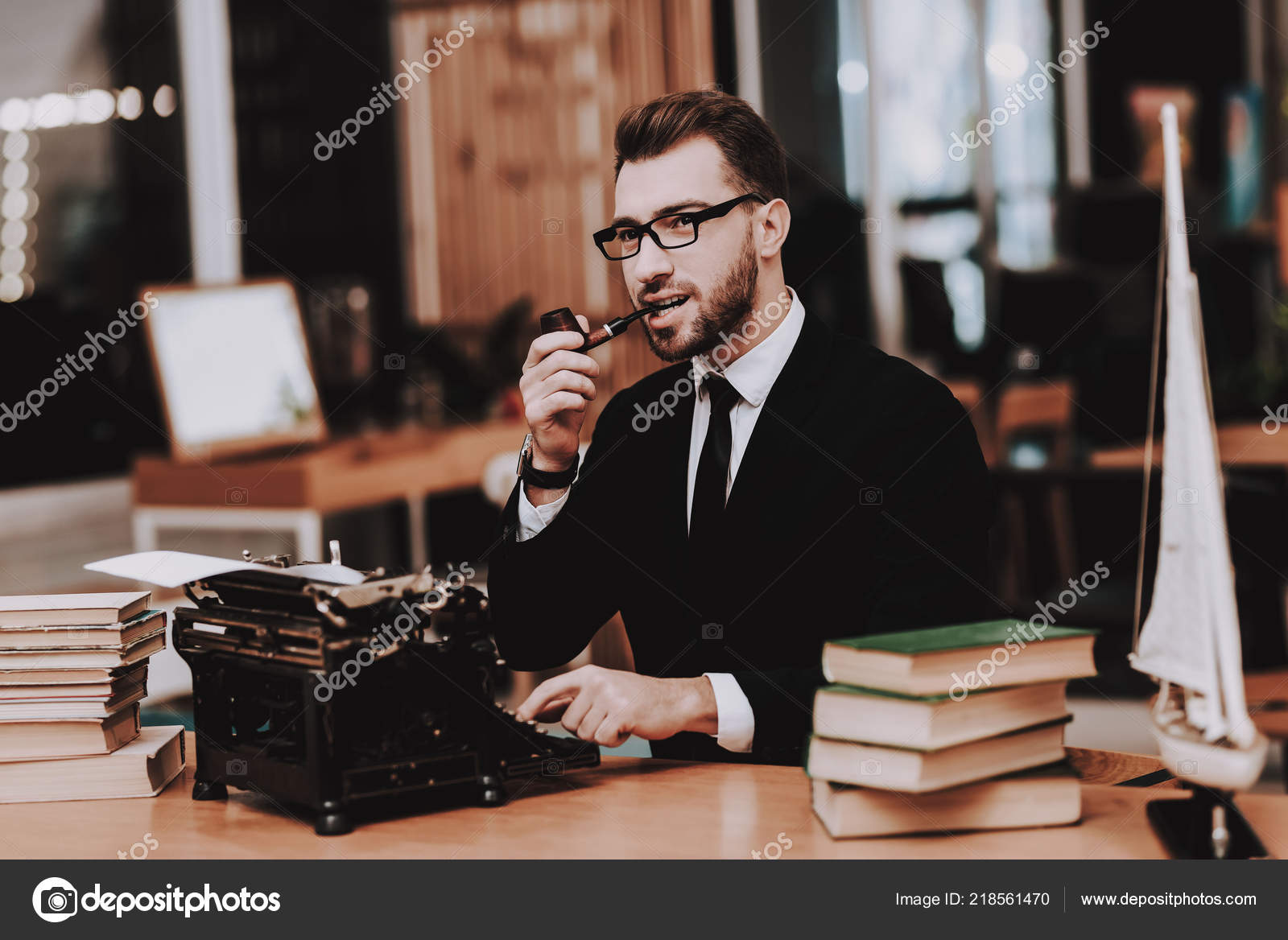 Eyeglasses Businessman Suit Old Typewriter Hands Young Male