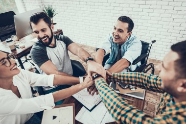 Young Workers on Teambuilding in Modern Office. Communication with Colleagues. Teambuilding at Work. Smiling Woman. Smiling Manager. Teamwork in Office. Happy People. Business Concept.