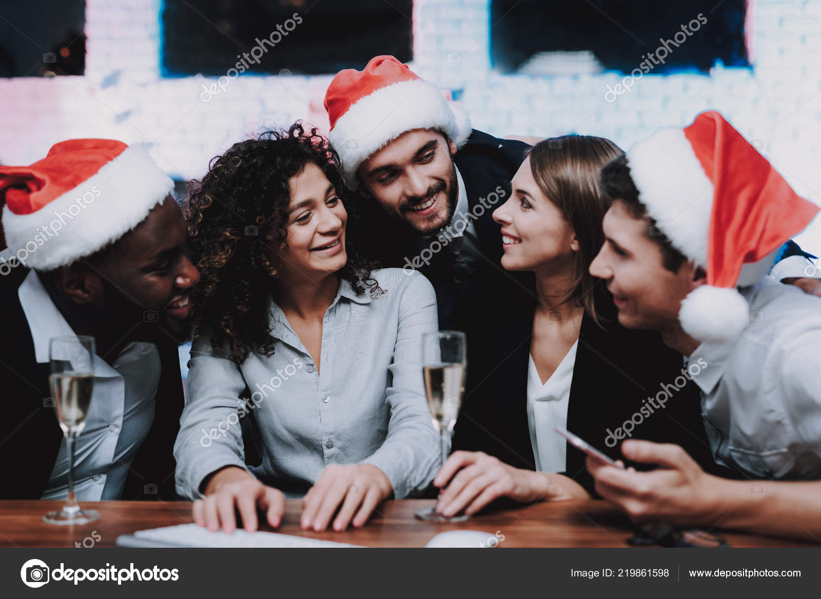 Young People Celebrating New Year Modern Office Christmas Tree ...