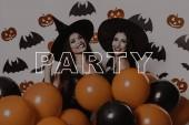 Fotografie Halloween. Partei. Sexy. Hexen. Lacht. Hüte. Orange Ballons. Freudige. Konfetti. Fledermäuse. Lächeln. Schwarze Kleider. Magie. Spaß. Mode. Ziemlich. Lady. Make-up. Assistenten. Stilvolle. Gothic. Kosmetik