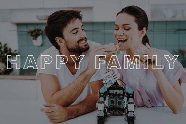 Feed Each Other. Eat Sandwiches. Small. Help. Guy. Rhino-Rhino. Work Together. Bubbly Relationships. Man. Robot. Kitchen. Girl. Leisure Time. Have Fun. Family. Designing Robots. Home. Happiness.