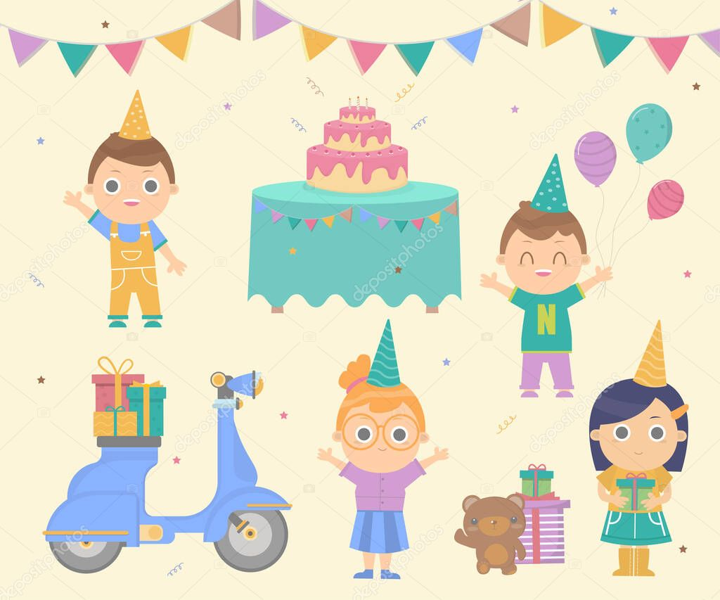 ✓ Girls and boys Prepare a birthday party with cakes And a scooter to send  gifts.Vector Illustration.Party invitation card.Birthday party set cartoon.  premium vector in Adobe Illustrator ai ( .ai ) format,