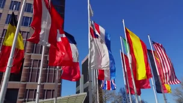Multiple countries flags in the wind slow motion in Frankfurt at the Musik Messe opening in Frankfurt Germany 20150415