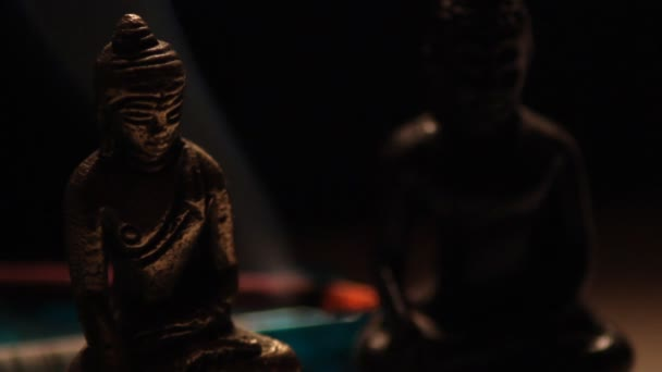 Buddha statues meditating in peaceful relaxation close up 04