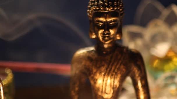 Buddha statues meditating  close up 05