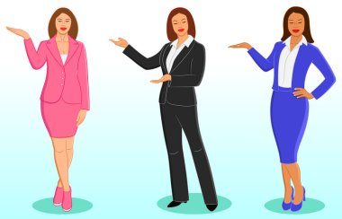 Set of smiling business women or teacher in office standing and pointing with hand. Isolated vector illustration