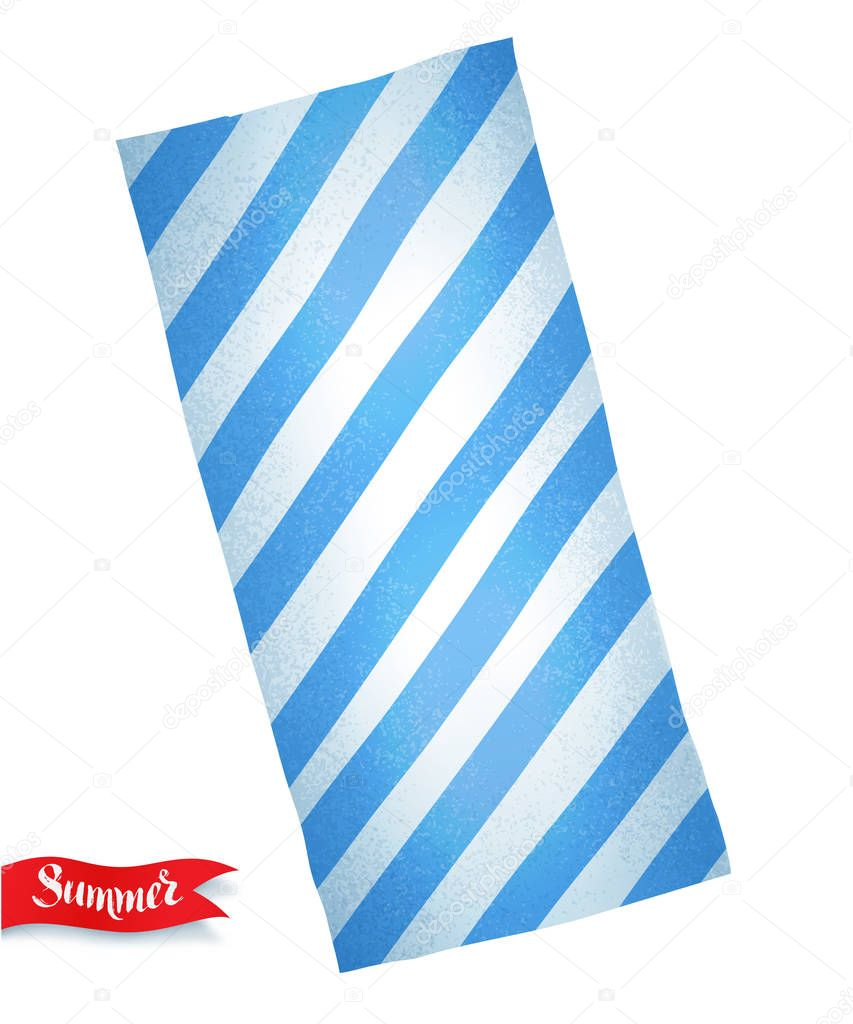 illustration of blue striped beach towel