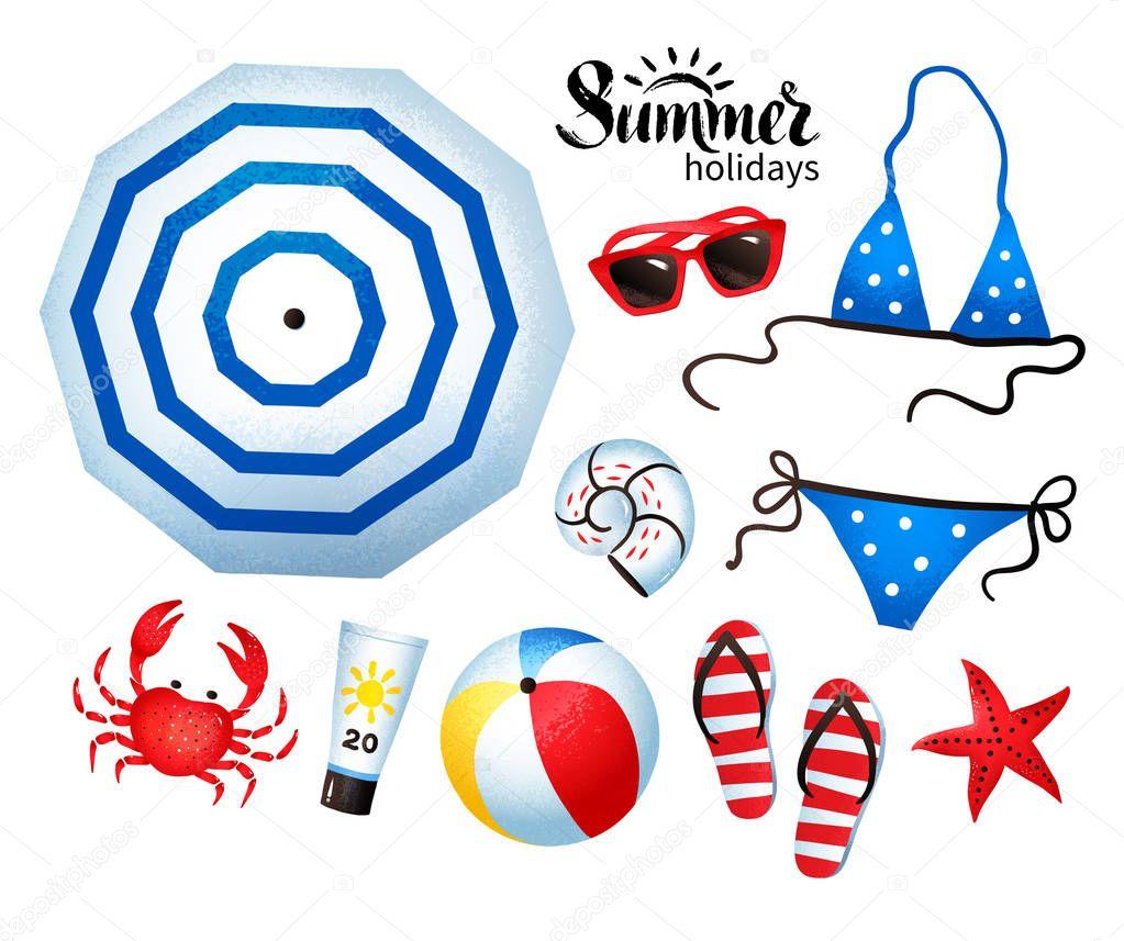 Vector summertime illustration set