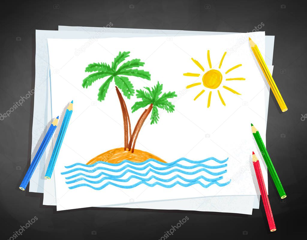 Child drawing of palm trees