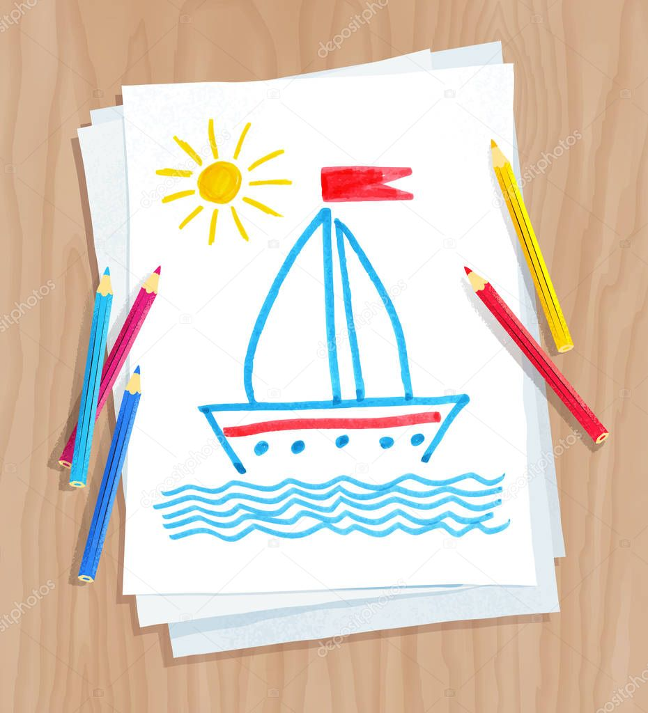Child drawing of ship and see waves