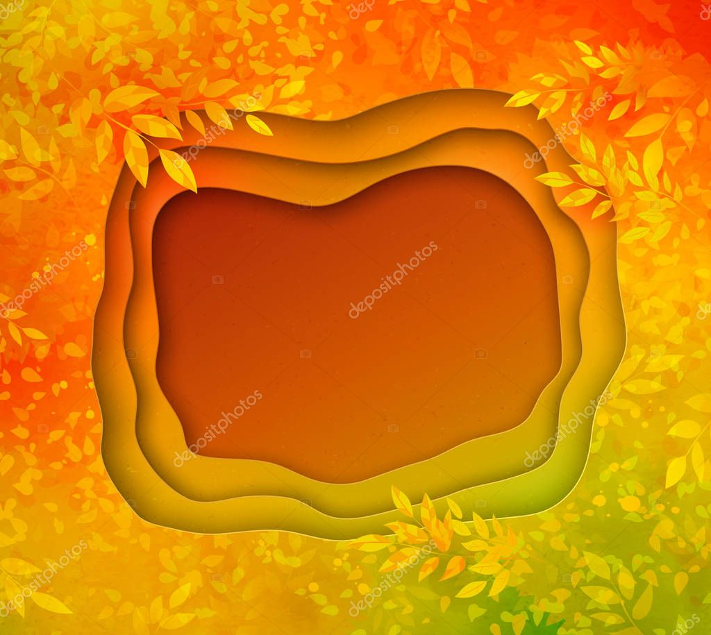Paper cut vector banner on autumn background