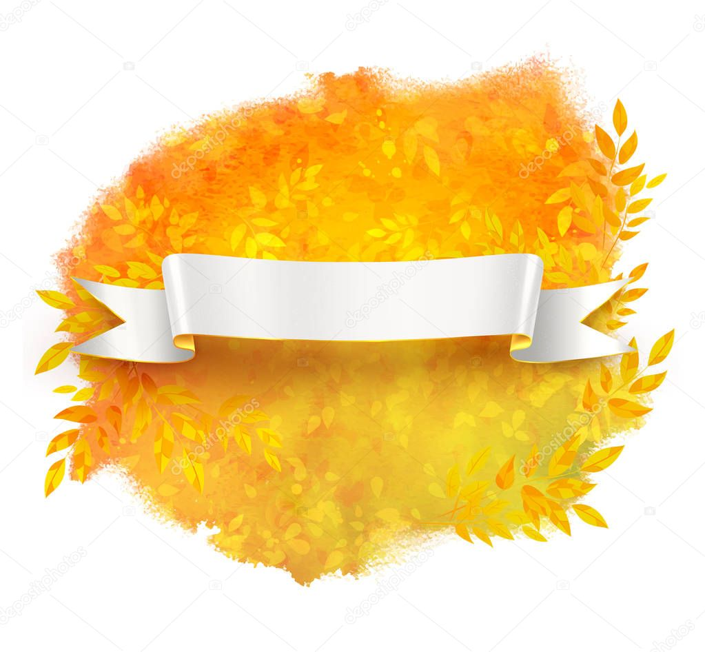 White ribbon banner on autumn leaves background
