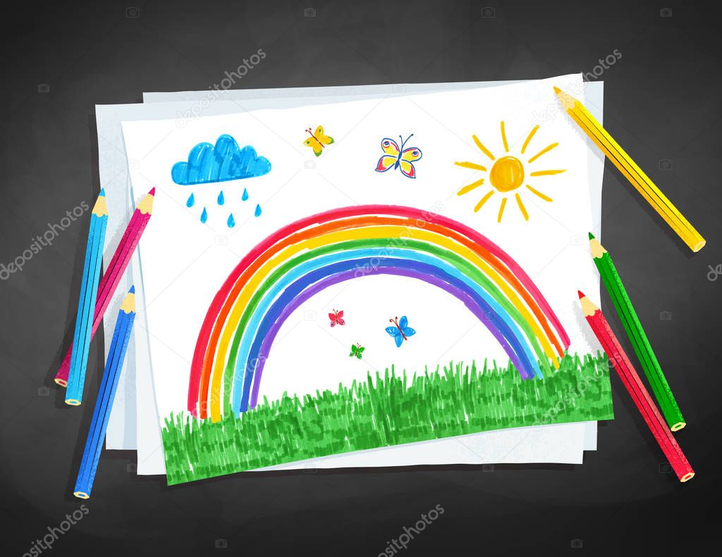 Vector illustration of child drawing of rainbow