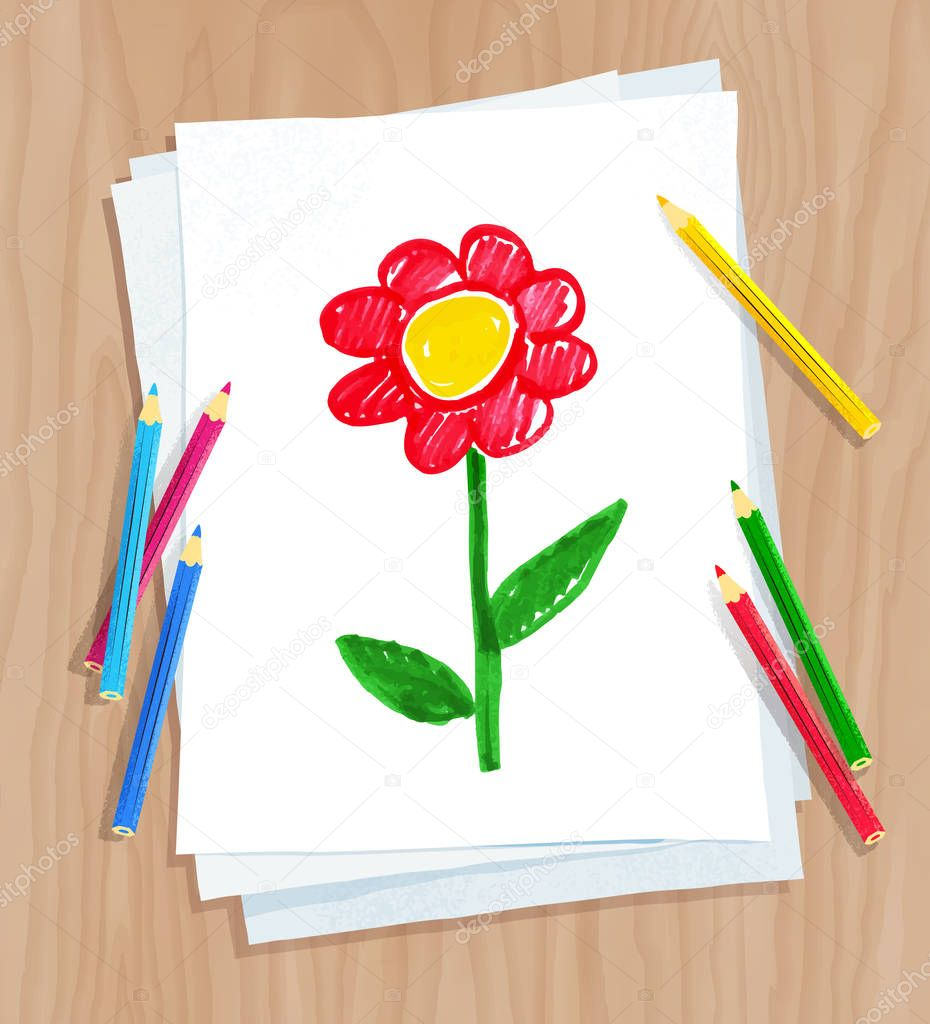 Vector illustration of child drawing of flower