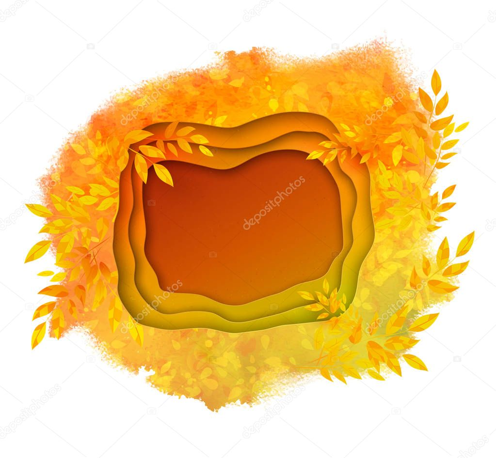 Paper cut banner on autumn background