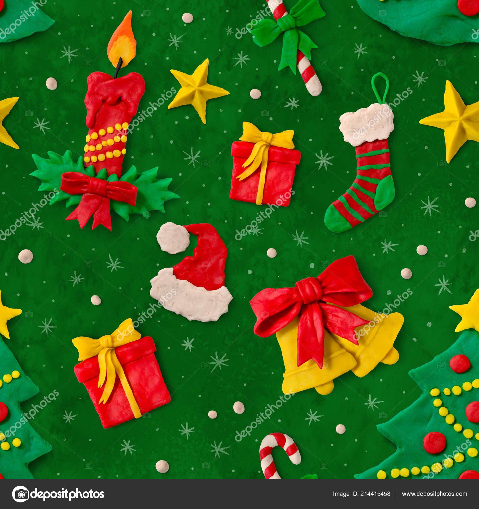Reticolo Di Natale Con Figure Di Plastilina Foto Stock