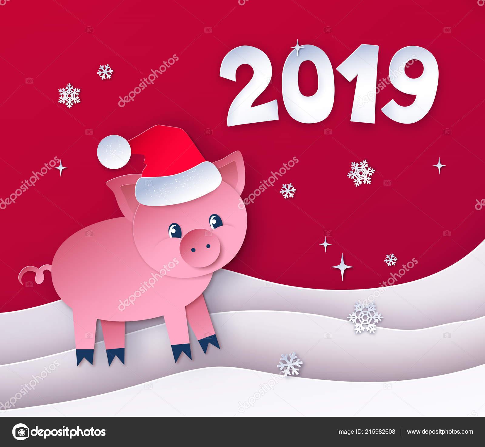 Rot Gefärbten Postkarte Von Neujahr Schwein Stockvektor